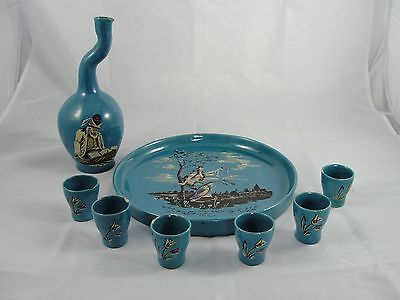 Vtg Persian Middle Eastern Teal Painted Pottery Tea Drink Set 6 cups tray Bottle