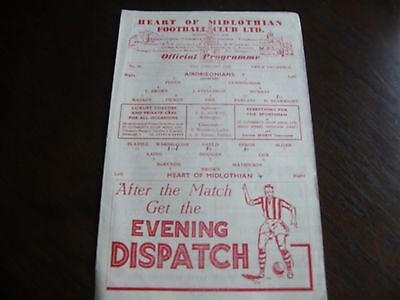 Hearts of midlothian v Airdrieonians 22nd January 1949 football programme
