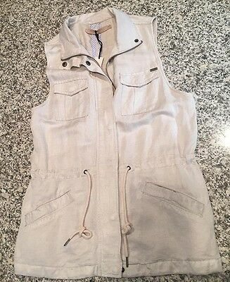MAX JEANS Linen Blend Anorak VEST * Layering Piece * Tan * Size SMALL * NWT! NEW