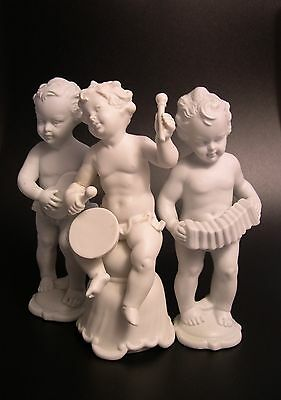 Set Of 3 Vtg Isco Germany Parian Ware Putti Cherub Musicians Band