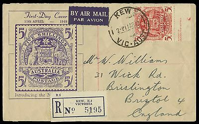SG224a 1949 Australia 5/- marginal on First Day Cover  to Bristol. E1486