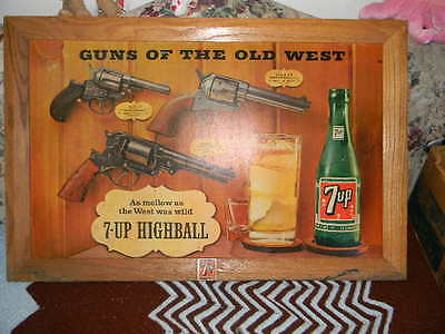 Vintage 1950's 60's 7Up Soda  Advertising Sign Store Display ?? 37 X 24 Inches