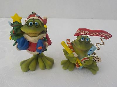 Russ Douglas the Frog Christmas Figurines Set of  2 (Resin)