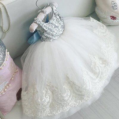 Flower Girl Princess Baby Kids Sequin Bowknot Dress Pageant Party Formal Dresses