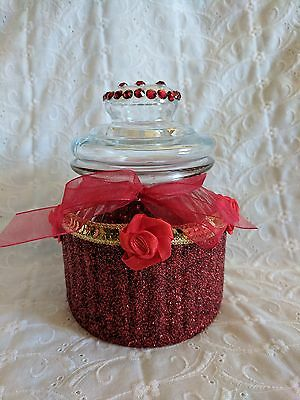 Pretty Glass Canister Jug Jar Decorated with Red Glitter & Red Ribbon Roses