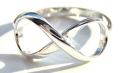 925 Sterling Silver Infinity Ring, Size J - T