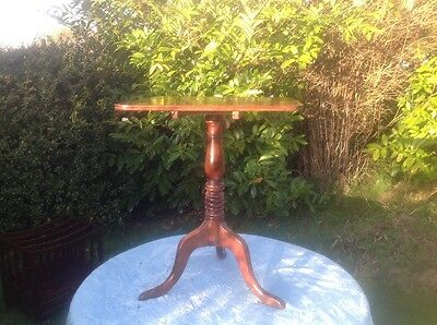 Antique Victorian Rectangular Mahogany Tilt Top Side Lamp wine Table Tripod legs
