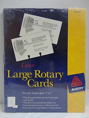 """150 Avery 5386 Laser Large Rotary Cards  3"""" X 5"""" New Sealed"""