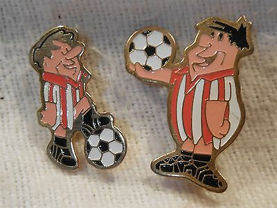 Flintstones Vintage Pair of Futball Football Soccer Lapel Pins Fred and Barney