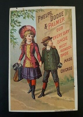 Trade Card Phelps Dodge Palmer Boots Shoes Rubbers Bedford Missouri