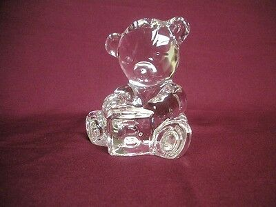 WATERFORD Crystal Glass Childs TEDDY BEAR w/ABC Block Paperweight Signed Mint