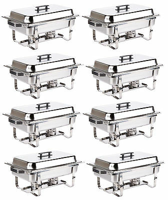 8 Pack Catering Stainless Steel Chafer Chafing Dish Sets 8 Qt Full Size Buffet