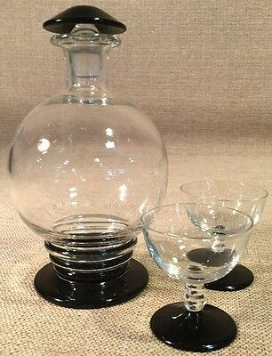 Vintage Handmade Black And Clear Glass Decanter And Small Tasting Glasses