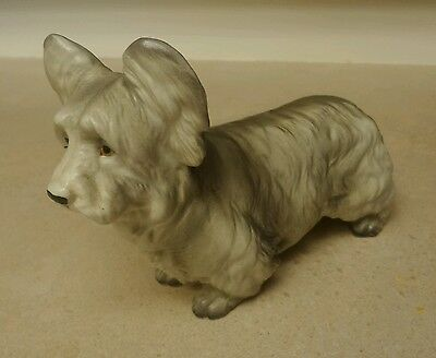 Vintage Ceramic Porcelain Gray Skye Terrier Dog Ucagco Figurine Original Label