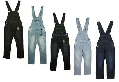Mens Big King Size Denim Dungarees Jeans In Black Mid Wash Colours Sizes 30-60