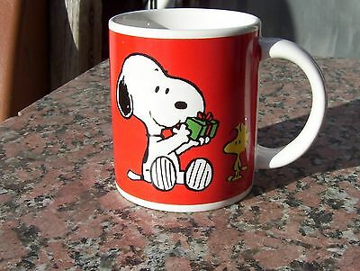 Vintage Peanuts United Syndicate Feature Snoopy And Woodstock Christmas Mug/cup
