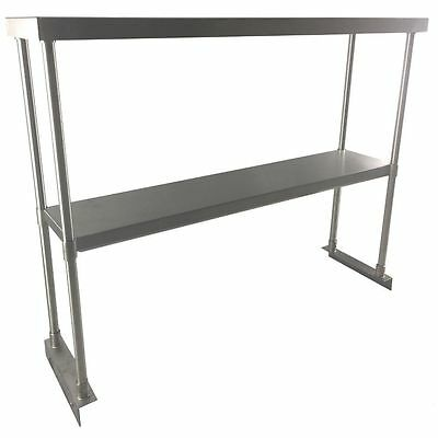 "Stainless Steel Double Overshelf 12"" x 48"" For Commercial Work Tables"