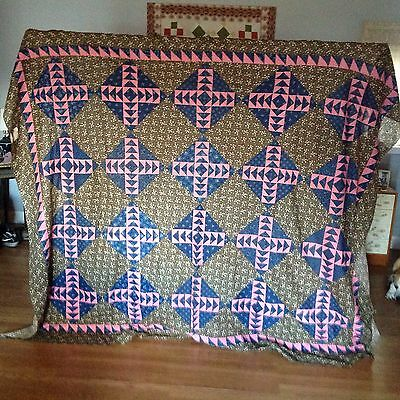 Crisp Unused Unwashed Antique Wild Goose Chase Quilt Top