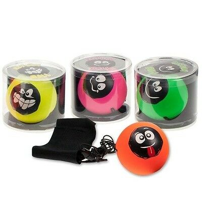 4 x Returnball am Gummiband - mit Lachgesicht - Bouncing Ball Fangball