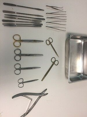Lot of medical Dental instruments with Tray Stainless