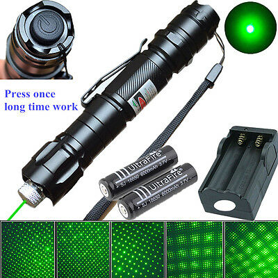 Military 1mw Green Laser Pointer 009 Pen Light 532nm Visible Beam + 2x Battery