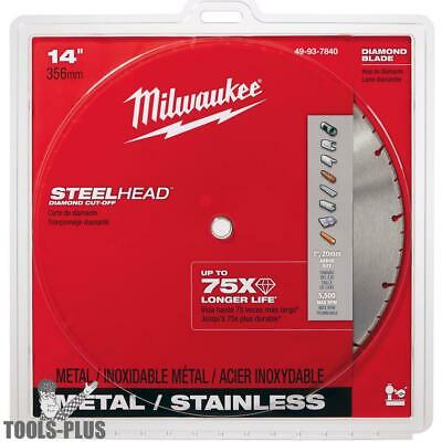 "Milwaukee 49-93-7840 14"" SteelHead Diamond METAL Cut-Off Blade 5500RPM New"
