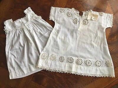 Antique 2 Handmade Baby Toddler Dresses Tatting Embroidery Cream Lace ~ 1925