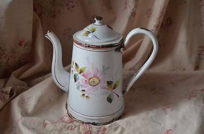 Pretty vintage French enamel jug or coffee pot, floral decoration