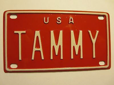 Vintage Personalized U S A TAMMY Mini Bike Vanity Name License Plate Sign