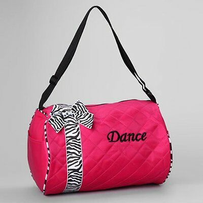 Girls Kids Dance Duffle Bags - Quilted Zebra Pattern Ribbon & Bow (Pink)