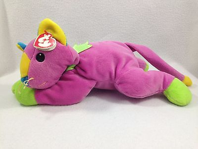 Nwt 1998 Ty Meow Cat Beanie Babies The Pillow Pals Collection Plush Baby Safe