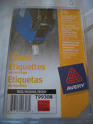 AVERY PRICING Price Gun LABELS Red 4 Rolls 5000 labels for 216 new NIP