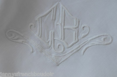 Antique French hand embroidered pure linen pillow case, CB monogram