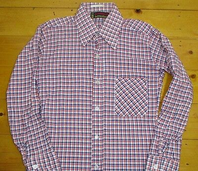 "Vintage Kids 70s Blue&Red Lumberjack Check Shirt Kids LARGE 32""(30-32)Cotton"