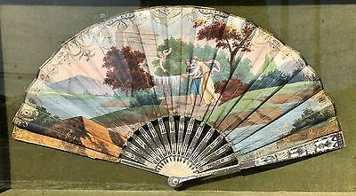 "Exceptional 18th Century French Gouache On Vellum or ""Kidskin"" Fan, MOP & Silver"