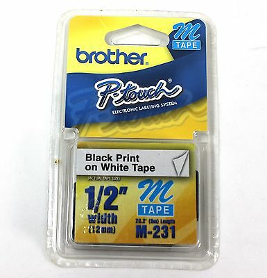 "1/2"" (12mm) Black on White P-touch M Tape  NEW"