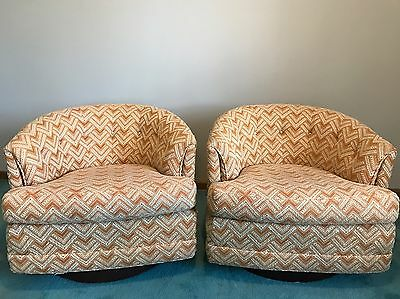 Pair Of Mid Century Milo Baughman Barrel Back Swivel Lounge Chairs Fabric