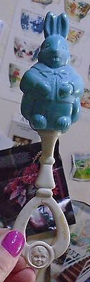 Vintage Bunny Rabbit Rattle Blue Amloid gerber baby face handle 2 sided