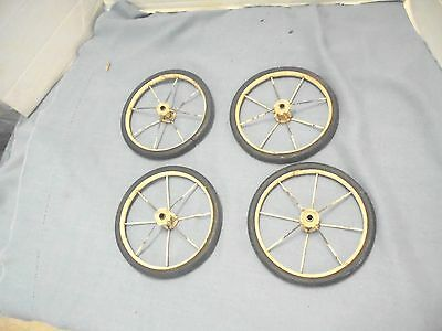 "4 vintage child's toy baby buggy wheels doll 6-1/2"" diameter wire spokes #1"