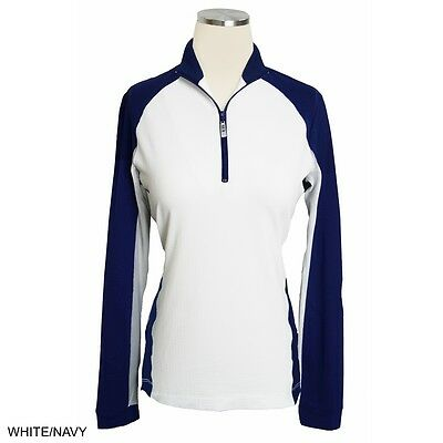 EIS Equi-In-Style Paneled Riding Cool Sun Shirt - Diff Sizes - Navy w/White