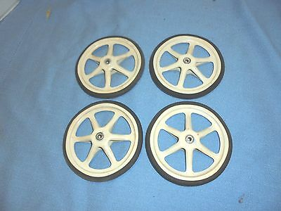 "4 vintage child's toy baby buggy wheels doll 5"" diameter metal spokes #2"