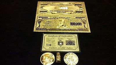 <U.S SELLER>~4Pc.LOT~ GOLD$100,000 Banknote W/ COA + COIN/FLAKE W/Pouch~FREE S&H