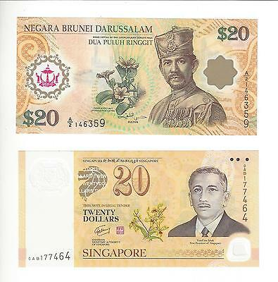 Brunei And Singapore Comem Issue 20$ Notes Pair Nice Unc
