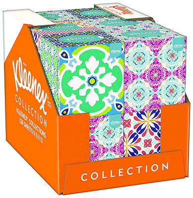 Kleenex Collection Cube - 12 Boxes (56 Tissues Per Box, 672 Tissues Total)