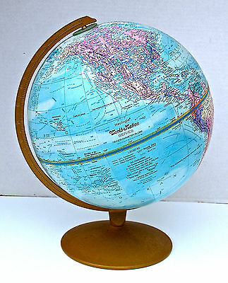"""Vintage 12"""" World Globe Nation Series Raised Topography Replogle Made In USA"""