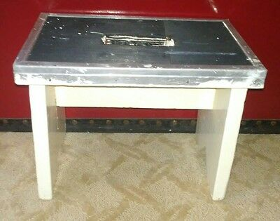 Vintage Painted Wood Step Stool with Metal Non Skid Top