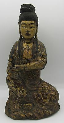 "Antique carved seated wood Buddha painted & gilt gold design 12"" tall"