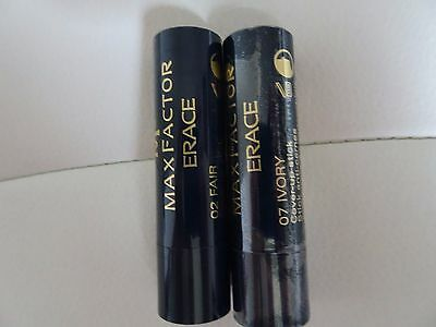Max Factor Erace Cover Up Stick Fair 02 (unsealed) or Ivory 07 (Sealed) New