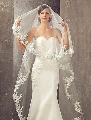 Aukmla One Tier Cathedral Wedding Bridal Veils with Lace Edge Ivory NEW