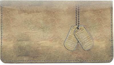 Military Grunge Leather Checkbook Cover